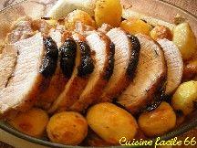 Rôti de porc aux pruneaux d'Agen et pommes de terre à la graisse de canard