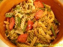 Salade de pâtes (torti) 3 saveurs aux légumes d'été, thon au pesto vert