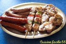 Grillade catalane de lapin et saucisses à la plancha