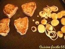 Parillade de poissons (Marlin et Thon) et hamburger de pommes de terre au confit de tomates à la plancha