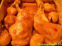 Cuisses de poulet rôti aux pommes de terre et oignons à la graisse de canard