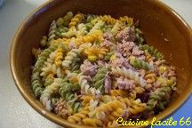 Salade de pâtes (torti) au thon et maïs