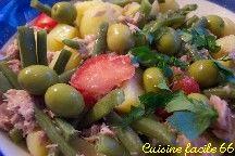 Salade de pommes de terre, haricots verts et thon