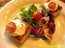 Tartines jambon, tomate confite, fromage frais de brebis