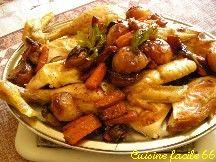 Poulet rôti aux légumes nouveaux confits à la graisse de canard