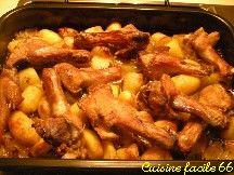 Manchons de canard rôtis aux pommes de terre et oignons