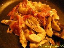 Artichauts poivrades sautées au jambon Serrano