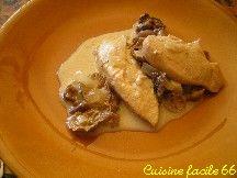 Aiguillettes de poulet aux mousserons des prés, sauce crémée