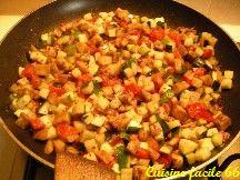 Fricassée de légumes d'été (oignon, courgette, aubergine, tomate)