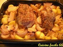 Rôti épaule de porc aux oignons rouges de Toulouges, pommes de terre Béa