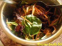Salade de carotte, courgette, pousses d'épinard et de «lollo rossa»